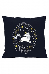 Lovely Unicorn Printed Decorative Pillow Cover Black 18x18in
