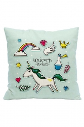 Lovely Unicorn Printed Decorative Pillow Cover Light Blue 18x18in