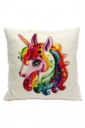 Lovely Rainbow Unicorn Printed Decorative Pillow Cover 18x18in