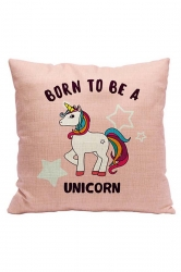 Lovely Unicorn Printed Decorative Pillow Cover Pink 18x18in