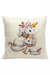Lovely Unicorn Printed Decorative Pillow Cover White 18x18in
