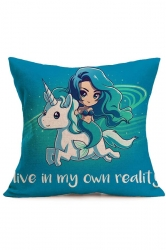 Galaxy Mermaid Baby Unicorn Printed Throw Pillow Cover Blue 18x18in