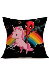 Cute Deadpool Baby Unicorn Printed Throw Pillow Cover Black 18x18in