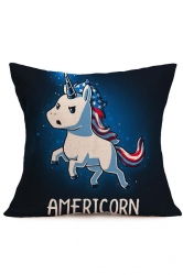 Galaxy Baby Unicorn Printed Throw Pillow Cover Sapphire Blue 18x18in