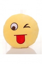 Emoji Naughty Tongue Expression Round Throw Pillow 12.6x12.6x5.2in