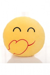 Emoji Chuckle Face Round Cushion Soft Throw Pillow 12.6x12.6x5.2in