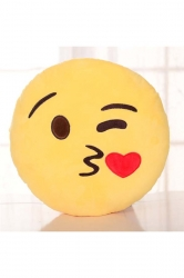 Emoji Throwing Kiss Expression Soft Throw Pillow 12.6x12.6x5.2in
