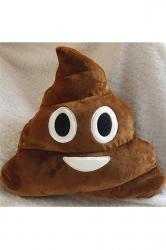 Soft Cushion Plush Smiley Emoticon Poop Emoji Pillow Brown 14x12x4in