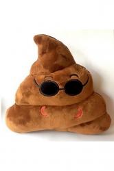 Home Decor Plush Coolguy Emoticon Poop Emoji Pillow Brown 14x12x4in