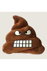 Home Decor Plush Angry Emoticon Poop Emoji Pillow Brown 14x12x4in