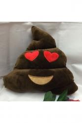 Home Decor Heart Eyes Plush Emoticon Poop Emoji Pillow Brown 14x12x4in