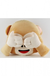 Cute Plush Smiley Emoticon Emoji Monkey Decorative Pillow 14x13x4in