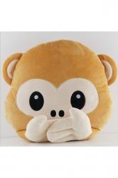 Soft Plush Smiley Emoticon Emoji Monkey Decorative Pillow 14x13x4in