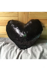 Style Reversible Sequins Heart-Shaped Mermaid Pillow Black 16x14x4in
