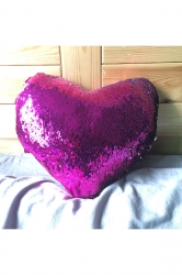 Soft Reversible Sequins Heart-Shaped Mermaid Pillow Rose Red 16X14X4In
