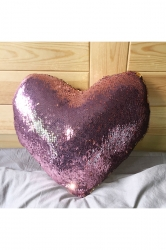 Home Decor Cushion Sequins Heart-Shaped Mermaid Pillow Pink 16X14X4In