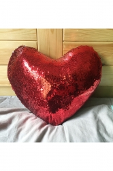 Home Decorative Soft Sequins Heart-Shaped Mermaid Pillow Red 16x14x4in