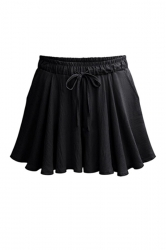 Womens Casual Wide Leg Drawstring Ruffle Hem Plain Skorts Black
