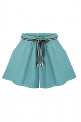 Womens Casual Loose Wide Leg Drawstring Plain Skorts Light Blue