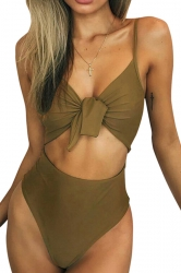 Womens Tie Bandage Cut Out High Waisted One Piece Swimsuit Army Green