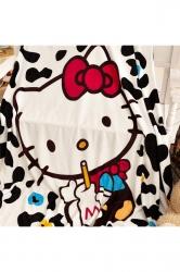 Hello Kitty Sofa Nap Blanket Flannel Throw Blanket Black And White
