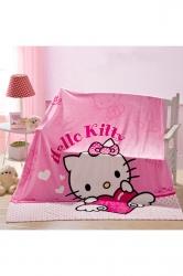 Hello Kitty Sofa Nap Blanket Flannel Throw Blanket Black