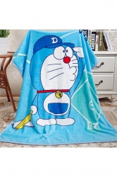 Doraemon Printed Throw Blanket Gift For Kids Blue