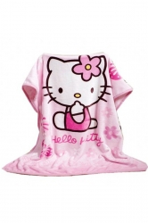 Hello Kitty Printed Throw Blanket Gift For Kids Pink