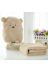 Baby Blanket With Teddy Bear Head Plush Animal Pillow Brown