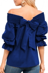 Womens Sexy Off Shoulder Puff Sleeve Back Bow Loose Blouse Blue
