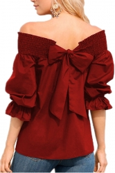 Womens Sexy Off Shoulder Puff Sleeve Back Bow Loose Blouse Ruby