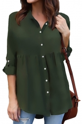 Womens Turndown Long Sleeve Button Ruffle Chiffon Blouse Army Green