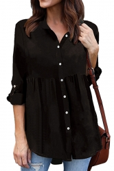 Womens Loose Turndown Long Sleeve Button Ruffle Chiffon Blouse Black