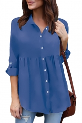 Womens Turndown Long Sleeve Button Ruffle Chiffon Blouse Sapphire Blue