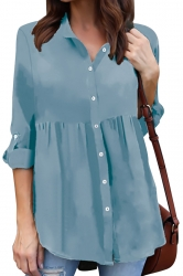 Womens Turndown Long Sleeve Button Ruffle Chiffon Blouse Turquoise