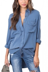 Womens Sexy Turndown High Low V Neck Pocket Chiffon Blouse Blue