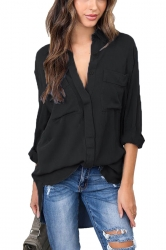 Womens Sexy Turndown High Low V Neck Pocket Chiffon Blouse Black