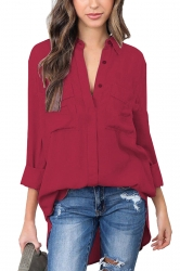 Womens Sexy Turndown High Low V Neck Pocket Chiffon Blouse Ruby