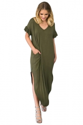 Womens Maxi V Neck Ruffle Sleeve Curved Side Slit Dress Army Green
