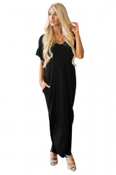 Womens Maxi V Neck Ruffle Sleeve Curved Side Slit Dress Black