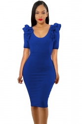 Womens Ruffle Shoulder Short Sleeve V Neck Midi Bodycon Dress Blue