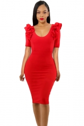 Womens Ruffle Shoulder Short Sleeve V Neck Midi Bodycon Dress Red