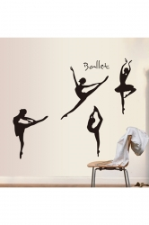 Ballet Dancer Ballerina Silhouette Removable Wall Sticker Decal Black