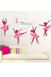 Ballet Girl Art Wall Stickers Decals Kids Rooms Decor Pink