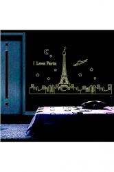 Paris Eiffel Tower Fluorescent Wall Stickers 3D Decals Black