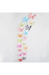 3D Butterfly Wall Decal Stickers Pink 18 Pieces