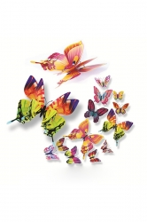 12 PCs PVC Butterfly Decals 3D Wall Stickers Home Decor Multicolor