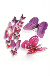12 PCs PVC Butterfly Decals 3D Wall Stickers Home Decor Purple