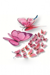 12 PCs PVC Butterfly Decals 3D Wall Stickers Home Decor Pink