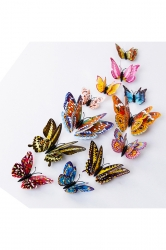 12Pcs Fashion 3D Butterfly Fluorescent Decal Wall Stickers Multicolor